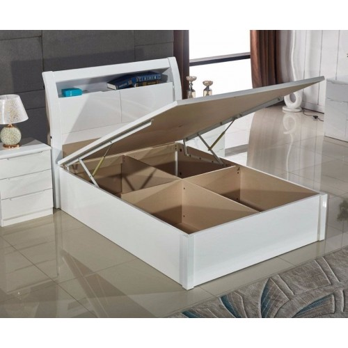 Rugby White Gloss Ottoman Bed Bedlines