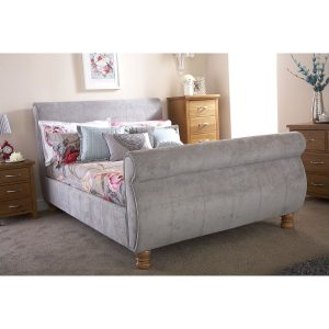 Chicago Silver Sleigh Bed Fabric - GFW-Bedlines