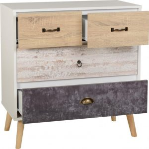 Nordic 2+2 Drawer Chest in White/Distressed Effect- Bedlines