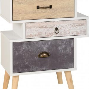 Nordic 3 Drawer Bedside in White/Distressed Effect- Bedlines