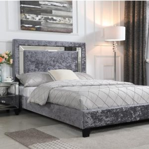 Augustina Crushed Velvet Bed with Mirror Fabric Bed in Silver- Bedlines