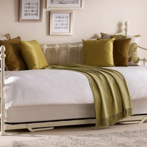 Julian Bowen Versailles 3ft Single Ivory Metal Day Bed with Guest Bed Frame- Bedlines
